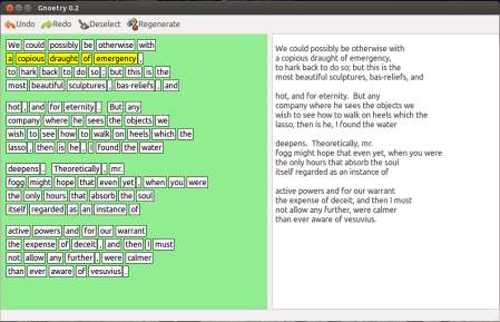 Figure 1: The Gnoetry 0.2 interface. The program's output is presented for the user/writer to shape into a poem draft.